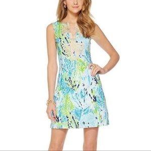 Lilly Pulitzer Janice Spa Blue Let's Cha Cha Dress